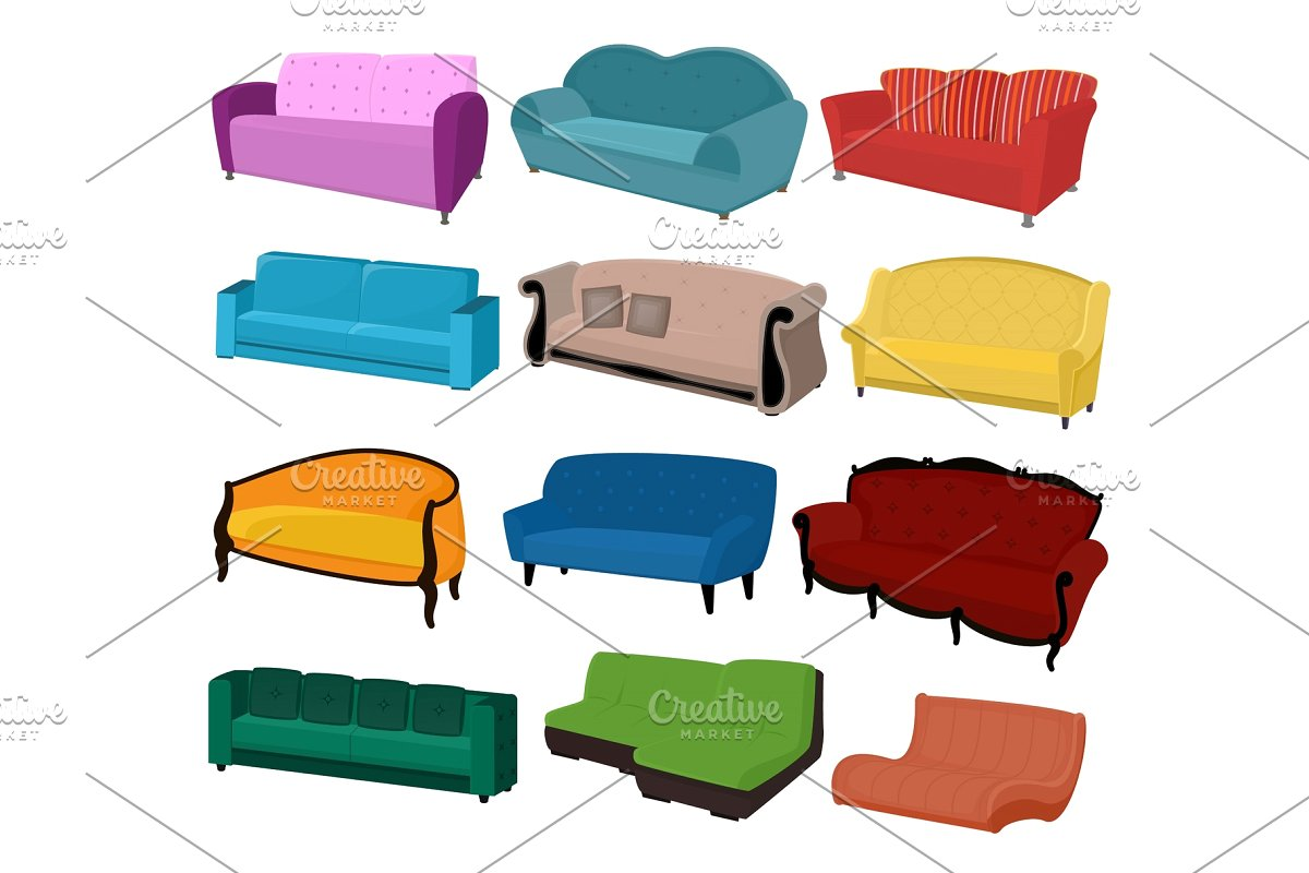 Sofa vector furniture couch seat.