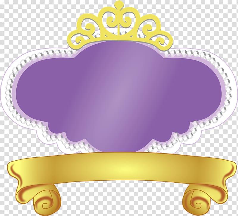 Yellow and purple crown illustration, Logo Disney Princess.