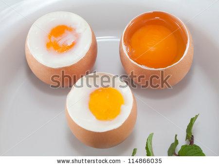 Raw Egg Soft Boiled Egg Boiled Stock Photo 114866035.