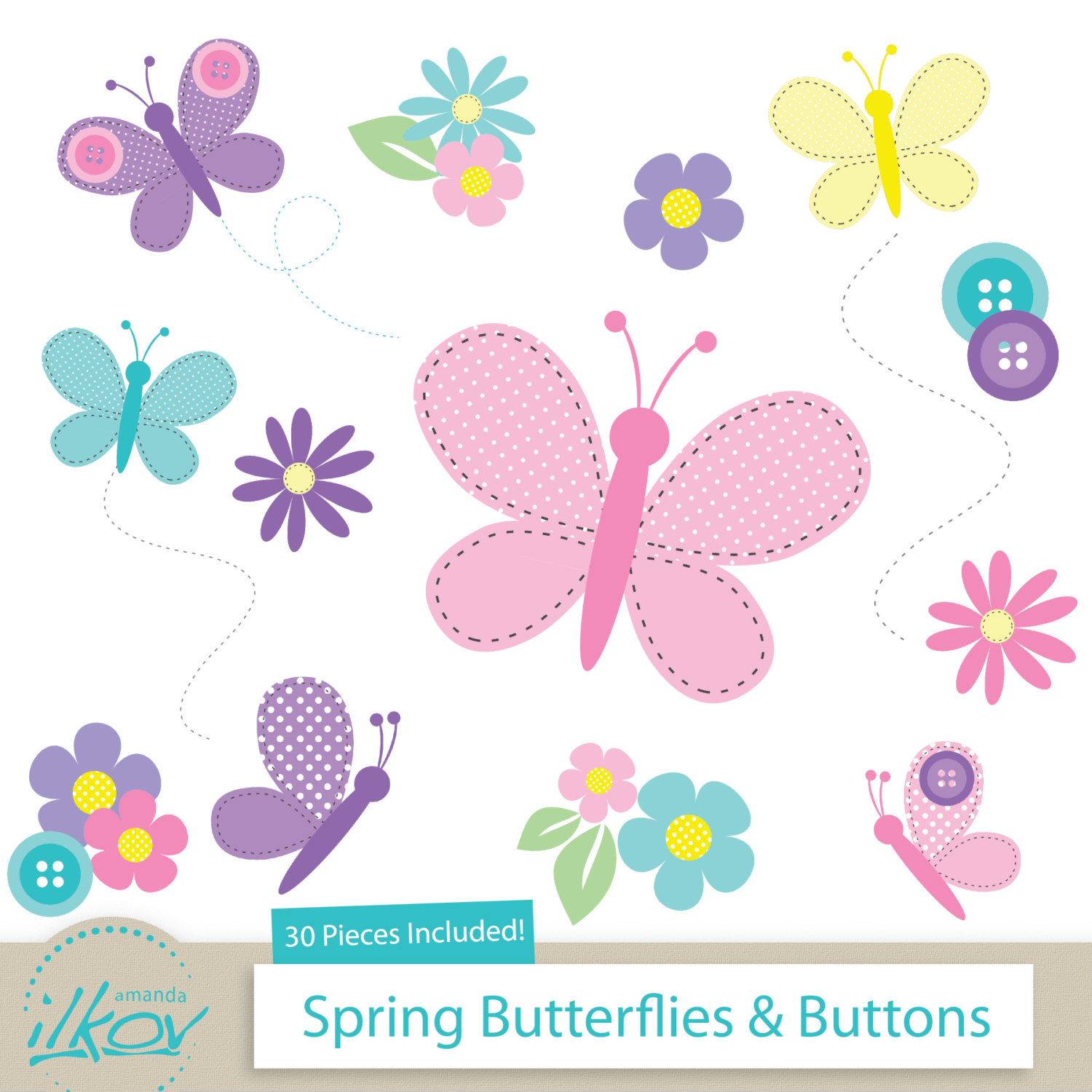 Spring Butterflies & Buttons Clipart for Digital by AmandaIlkov.