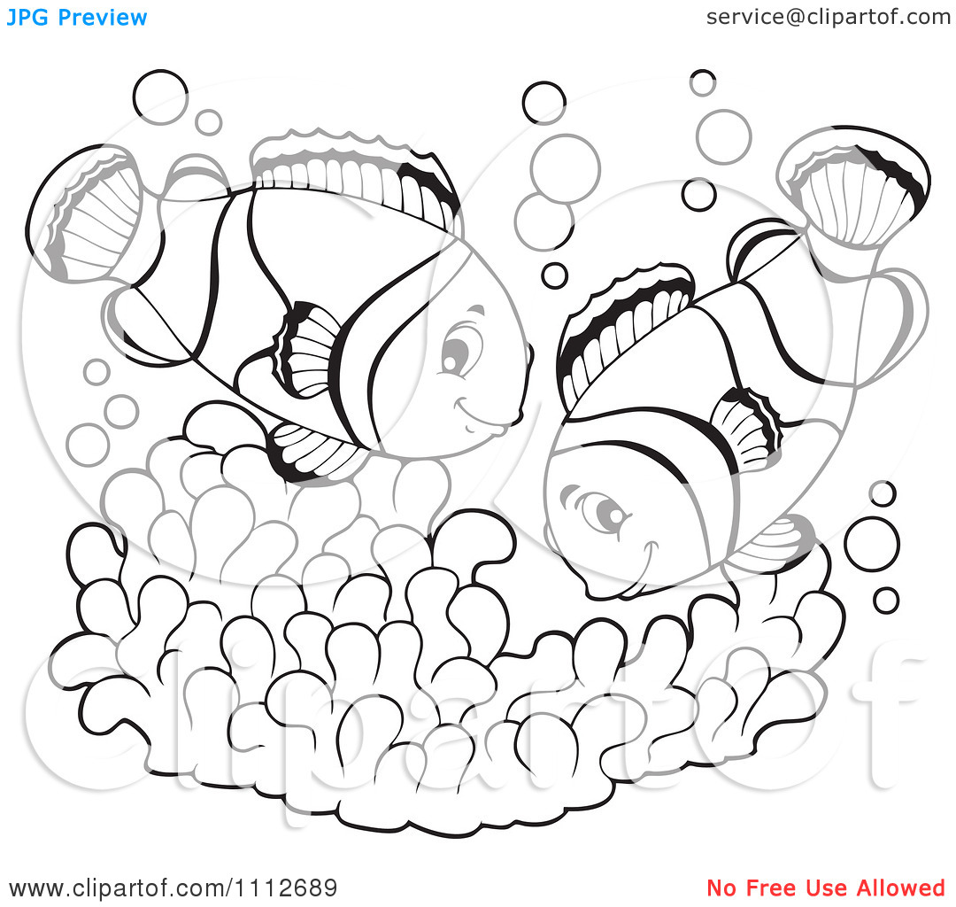Clipart Outlined Clownfish Pair Over Soft Corals.