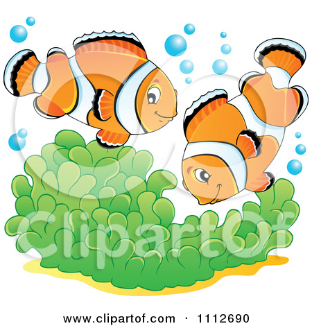 Clipart Clownfish Pair Over Soft Corals.