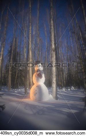 Stock Photo of Snowman in forest in shadowy evening light Interior.