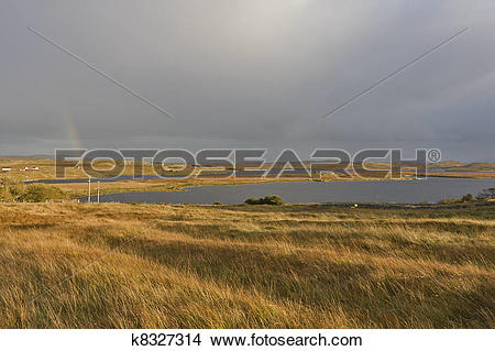 Stock Photo of soft evening scene in scottish highlands k8327314.