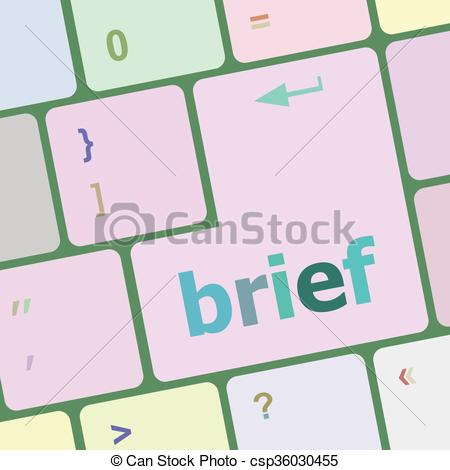 Clipart Vector of Brief text button on keyboard with soft focus.
