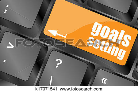 Clipart of Goals setting button on keyboard with soft focus.