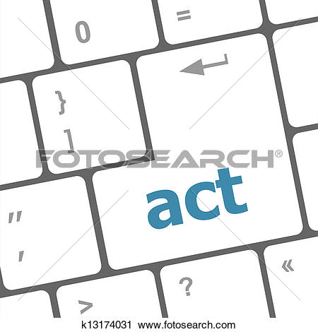 Clipart of Act button on keyboard with soft focus k13174031.