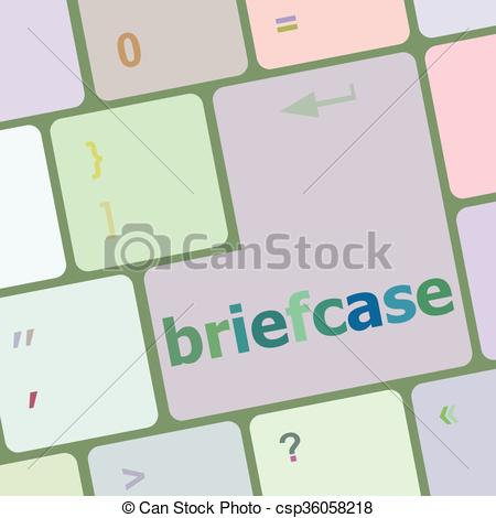 Vector Clip Art of Briefcase text button on keyboard with soft.