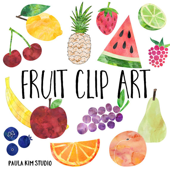 Fruit water color clipart.