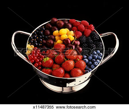 Stock Image of Assorted soft fruit in colander x11487355.