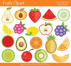 Cute Fruit clipart kawaii apples, lemon, plum, strawberry, cherry.