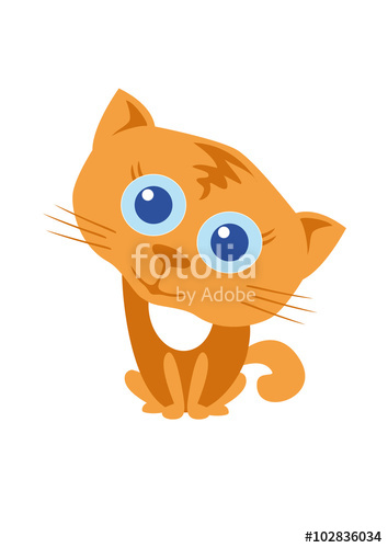 Cute kitten rusty. Cartoon character kitten. Playful kitty with.