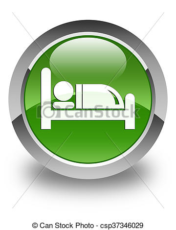 Clip Art of Hotel bed icon glossy soft green round button.