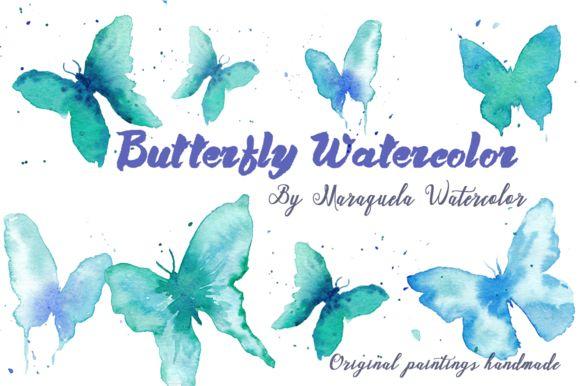 Watercolor Butterflies Clip Art Blue.