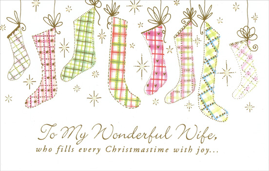 Soft Hue Stockings: Wife (1 card/1 envelope) Christmas Card from.