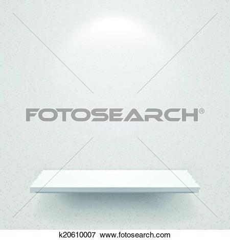 Clip Art of empty white shelf for exhibit with soft light.