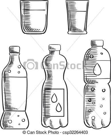 Vector Clipart of Soda, glasses and mineral water bottles sketch.
