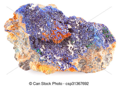 Stock Photographs of Blue Mineral Azurite Isolated.