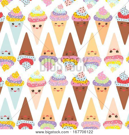 seamless pattern Kawaii funny Ice cream waffle cone muzzle with.