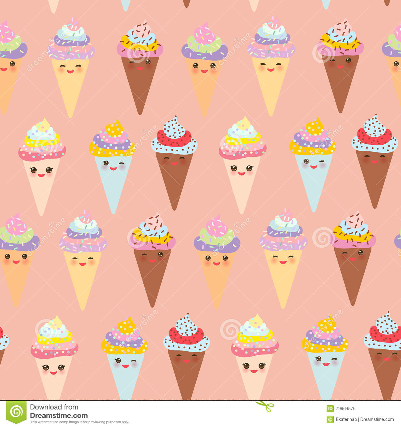 Seamless Pattern Kawaii Funny Ice Cream Waffle Cone, Muzzle With.