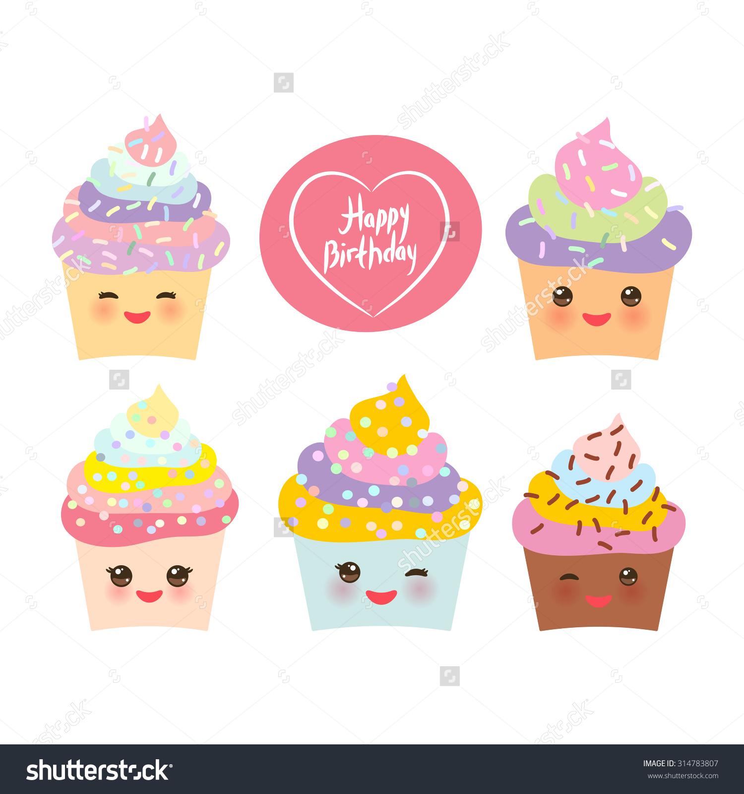 Happy Birthday Card Design Cupcake Kawaii Stock Vector 314783807.