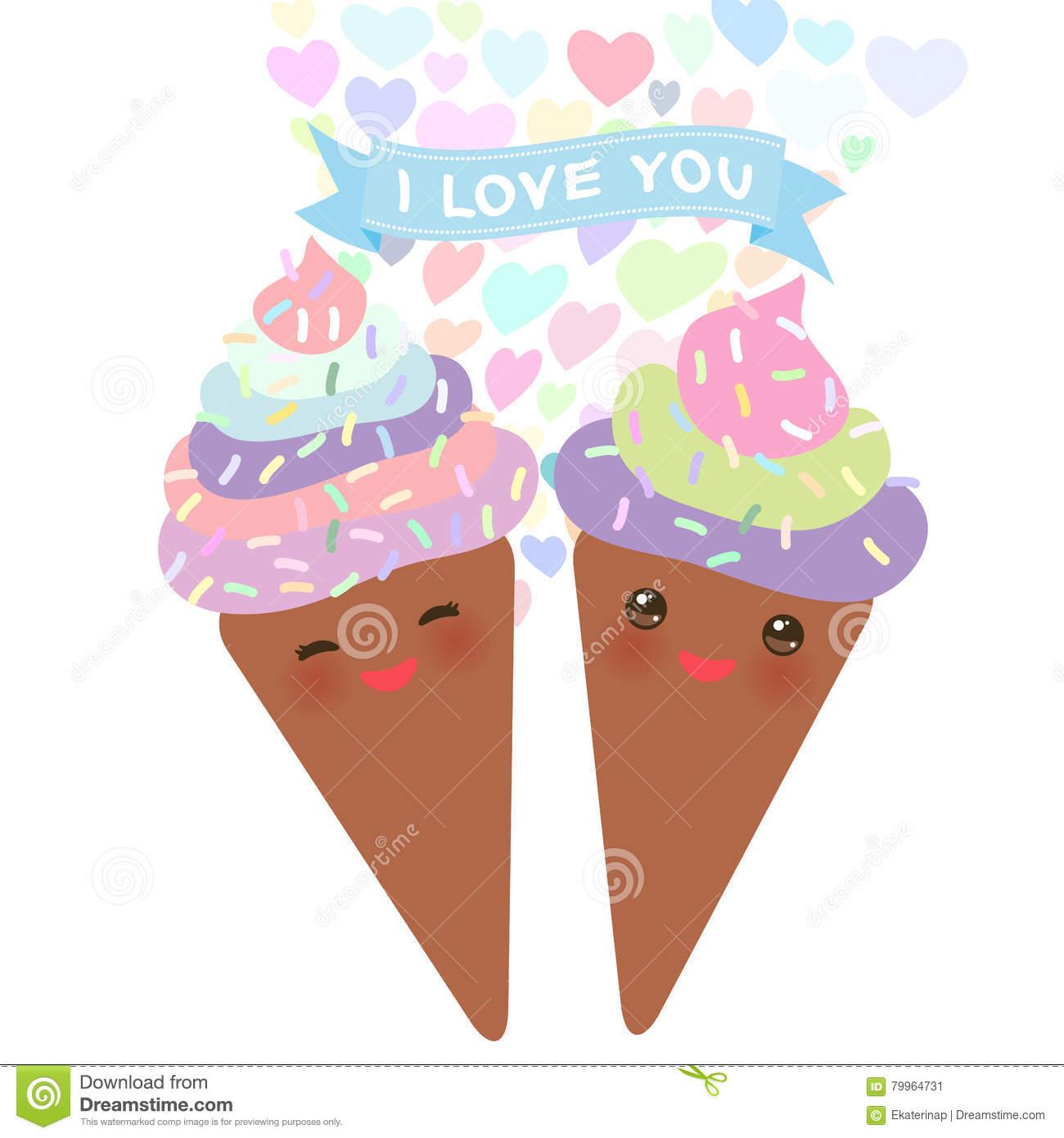 I Love You Card Design With Chocolate Ice Cream Waffle Cone Kawaii.