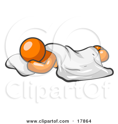 Clipart Picture of an Orange Man Sleeping With His Head Resting On.