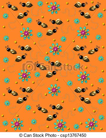 Stock Illustrations of Bees on the Buzz on Soft Orange.