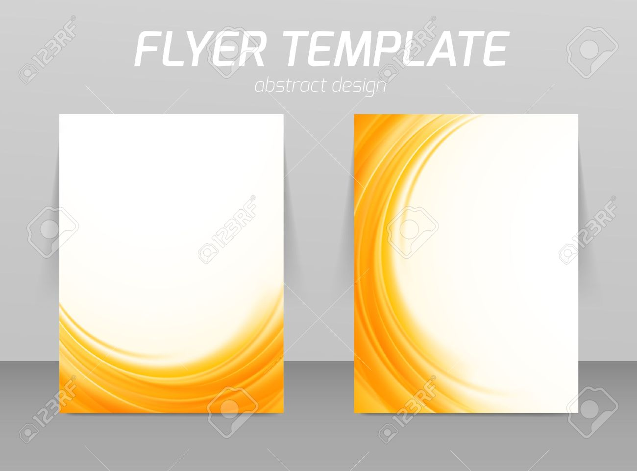 Abstract Flyer Template Soft Orange Wave Design Royalty Free.