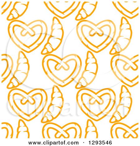 Clipart of a Seamless Pattern Background of Orange Soft Pretzels.
