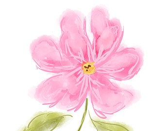 Pink watercolor flowers clipart.