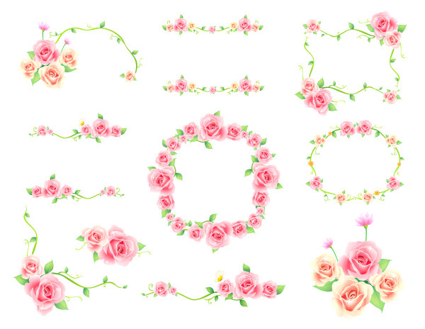Pink flowers clip art border.