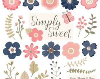 Cute Flowers Clipart in Soft Pink Soft Pink Vector by AmandaIlkov.