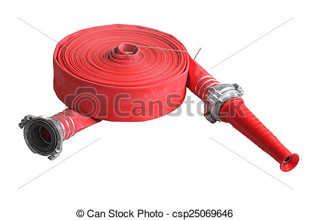 Stock Photo of Red fire fighting hose soft pipe, Isolated on white.