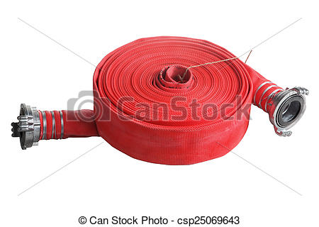 Stock Photo of rolled up red fire hose extension soft pipe on.