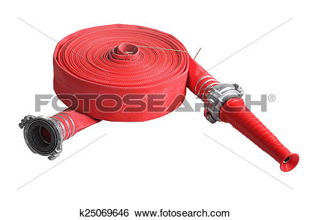 Stock Images of Red fire fighting hose soft pipe, Isolated on.