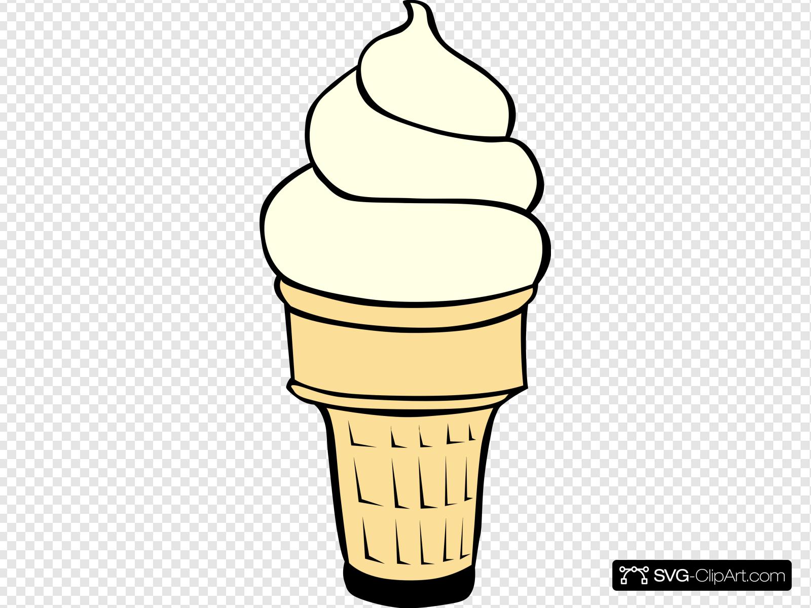 Vanilla Soft Serve Ice Cream Cone Clip art, Icon and SVG.