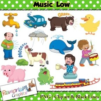 Music Concepts: Low sounds Clip art.