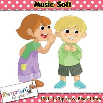 Music Concepts: Soft sounds Clip art.