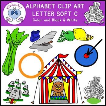 Letter C {soft sound} Clip Art: Beginning Sounds Alphabet.