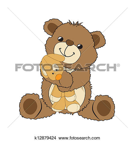 Clipart of teddy bear playing with his toy, a little dog k12879424.