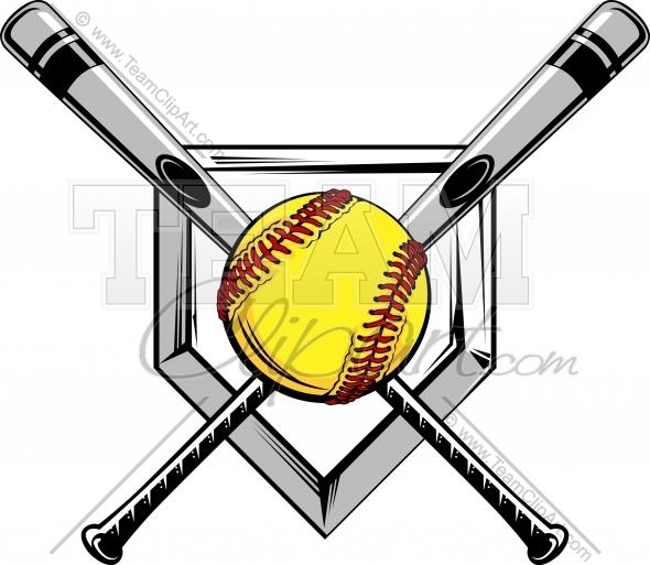 Softball Ball And Bat Clipart.