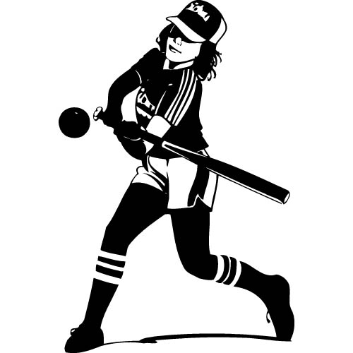 Softball Black And White Clipart.
