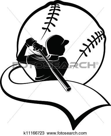 Clipart of Girl Softball Batter with Pennant k11166723.