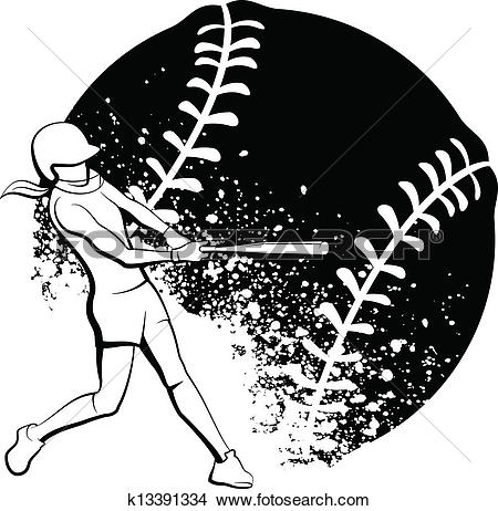 Clip Art of Softball With Bat softball032.