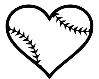 Softball Heart Clipart Black And White.