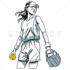 Sports Clipart Image of Woman Womens Softball Player Batter.