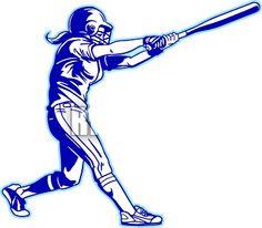 Clipart Image Of Black White Softball Player Girls Batting Batter.