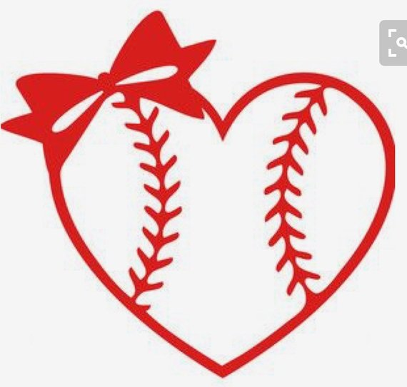Baseball/ Softball Heart with bow Yeti Decal.