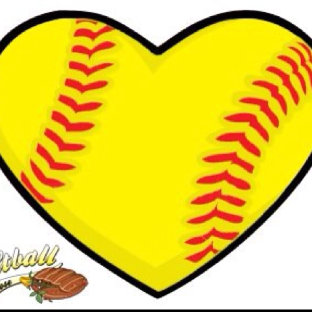 softball heart clipart #11